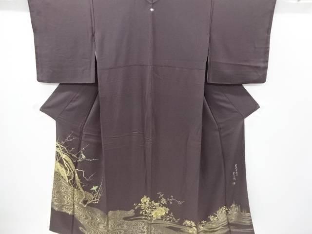 【IDnet】 作家物 寿光織鶯歌幸梅図織り出し一つ紋色留袖【リサイクル】【中古】【着】