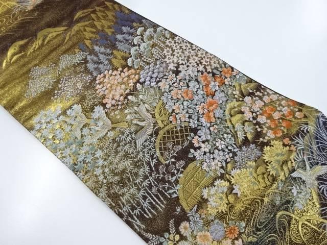 【IDnet】 純金箔蛇籠に花鳥模様織出袋帯【リサイクル】【中古】【着】