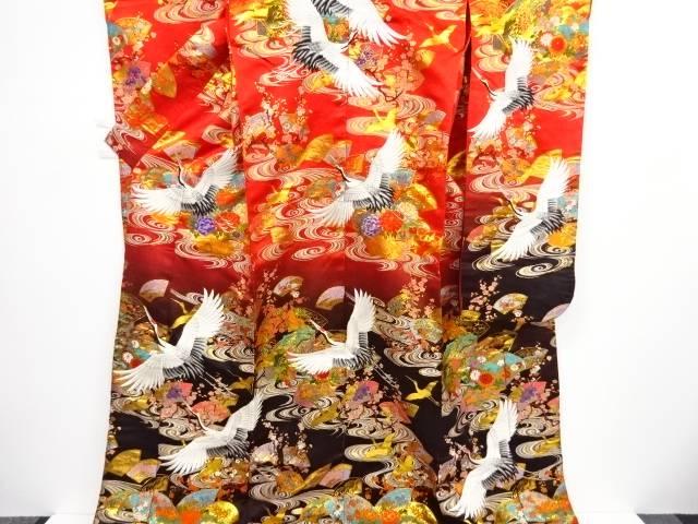 【IDnet】 本金地紙に草花・群鶴模様織り出し花嫁衣装色打掛【リサイクル】【中古】【着】