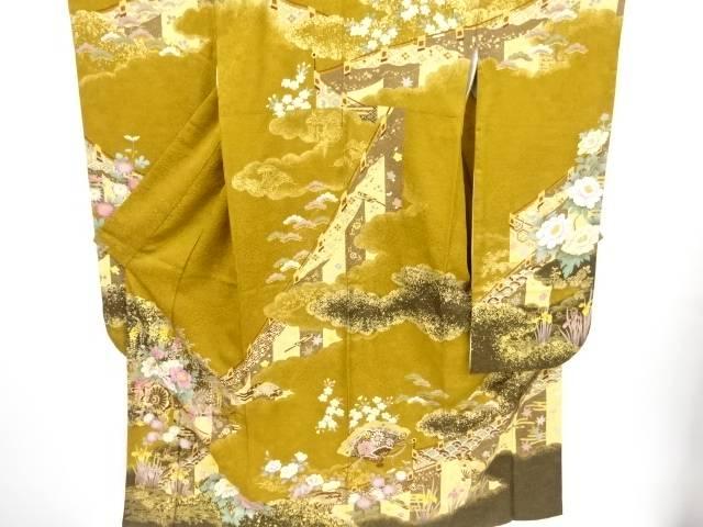 【IDnet】 金通し幕に花車模様刺繍振袖 袋帯・和装小物セット【リサイクル】【中古】【着】