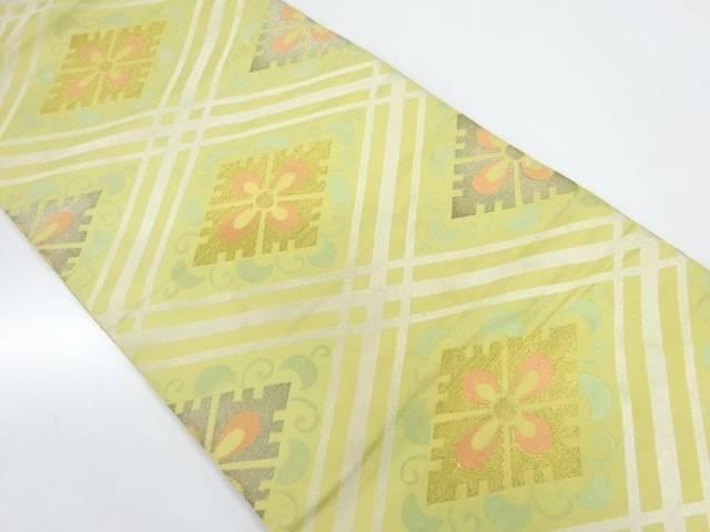【IDnet】 川島織物製 襷に変わり花菱模様織出し丸帯(着用可)【アンティーク】【中古】【着】