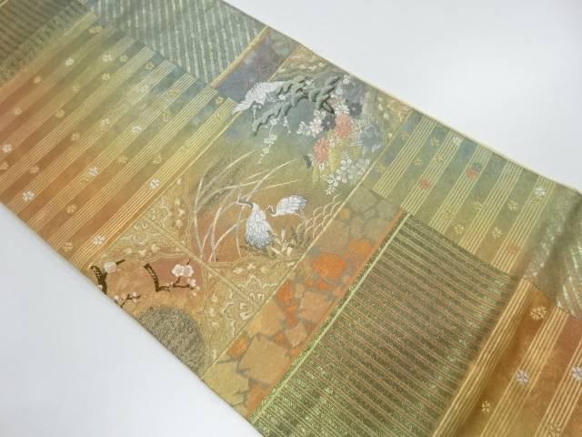 【IDnet】 引箔松梅に鶴・秋草模様織出しぼかし袋帯【リサイクル】【中古】【着】