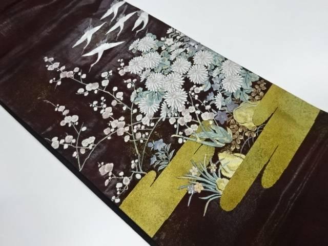【IDnet】 漆梅に秋草・群鶴模様織出し袋帯【リサイクル】【中古】【着】