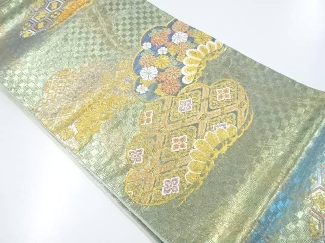 【IDnet】 未使用品 金糸笠松に菊古典柄華紋織出袋帯(未仕立て)【リサイクル】【着】