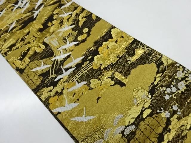 【IDnet】 群鶴に寺社風景模様織出し袋帯【リサイクル】【中古】【着】