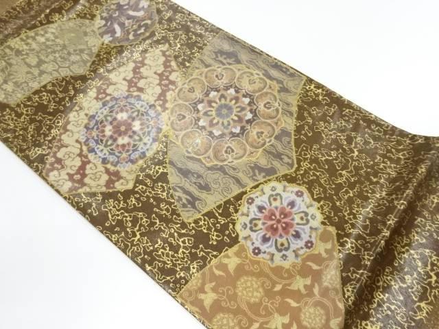 【IDnet】 金彩螺鈿地紙に花鳥・唐花模様袋帯【リサイクル】【中古】【着】
