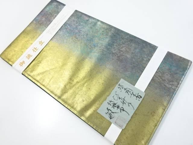 【IDnet】 未使用品 黒糸敏 引箔糊散らし模様織出し袋帯【リサイクル】【着】