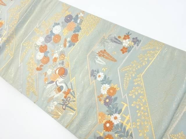 【IDnet】 金糸松皮菱に花鳥模様織出し袋帯【リサイクル】【中古】【着】