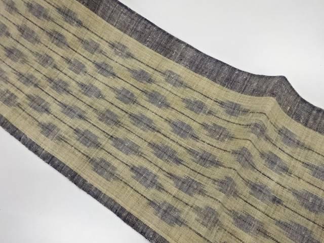 【IDnet】 未使用品 本場宮古上布 縞に抽象模様織出し名古屋帯【リサイクル】【着】