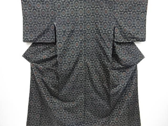 【IDnet】 幾何学に花模様織出西陣伝承紬着物アンサンブル【リサイクル】【中古】【着】
