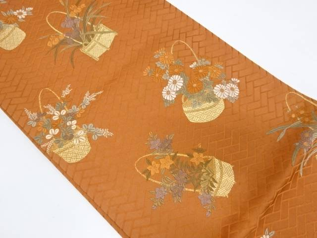 【IDnet】 花籠模様織出し袋帯【リサイクル】【中古】【着】