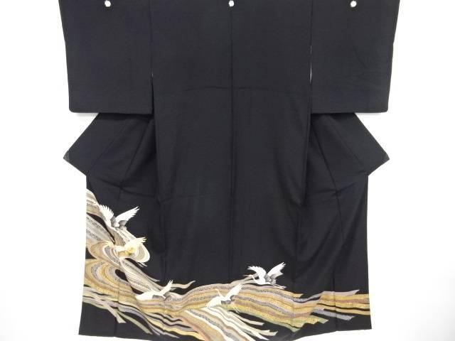 【IDnet】 流水に群鶴模様刺繍留袖(比翼付き)【リサイクル】【中古】【着】