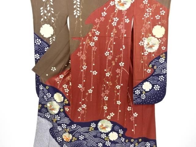 【IDnet】 金彩絞り雪輪に鶴・笹・枝垂れ桜模様刺繍振袖 袋帯・和装小物セット【リサイクル】【中古】【着】