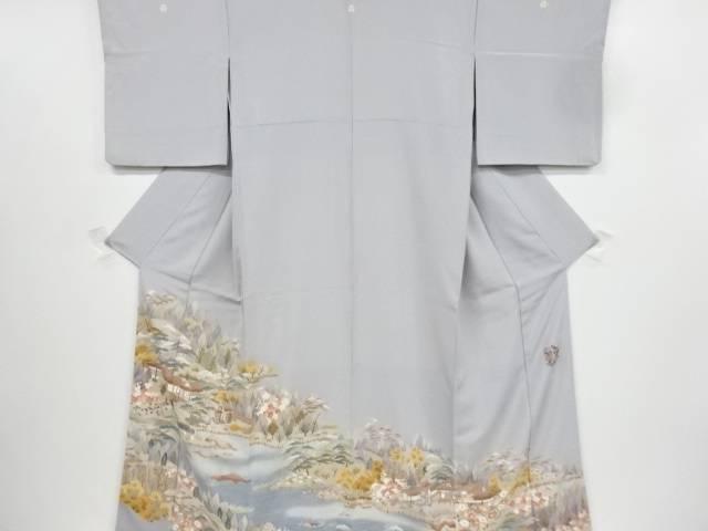 【IDnet】 作家物 手描友禅屋敷に庭園風景模様三つ紋色留袖【リサイクル】【中古】【着】