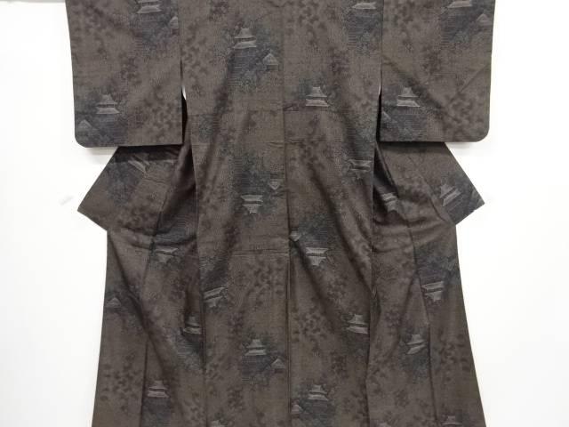 【IDnet】 寺院に草葉模様織出本場泥大島紬着物(9マルキ)【リサイクル】【中古】【着】