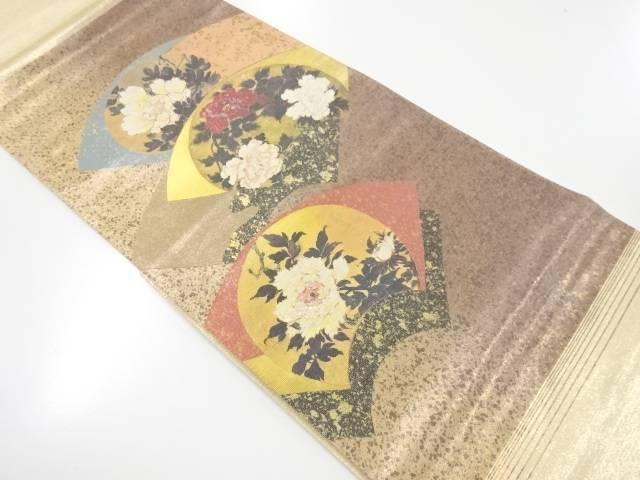 【IDnet】 引箔螺鈿地紙に牡丹模様織出袋帯【リサイクル】【中古】【着】