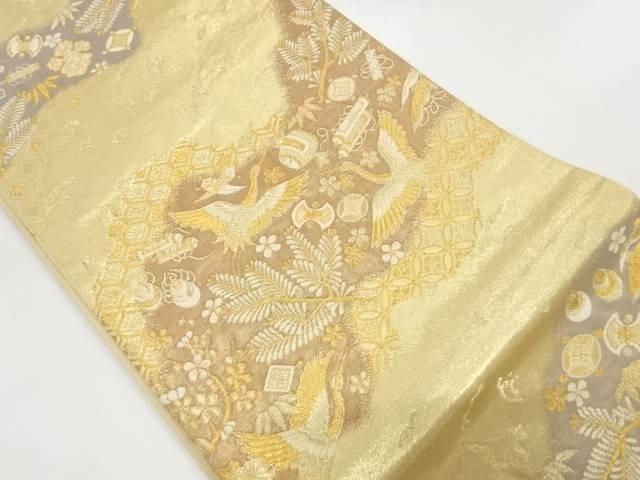 【IDnet】 松竹梅に鶴・宝づくし模様織出し袋帯【リサイクル】【中古】【着】