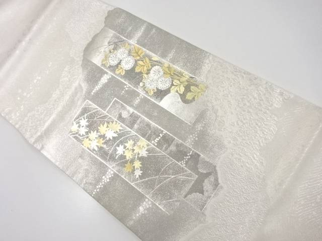 【IDnet】 箔置短冊に菊楓模様袋帯【リサイクル】【中古】【着】