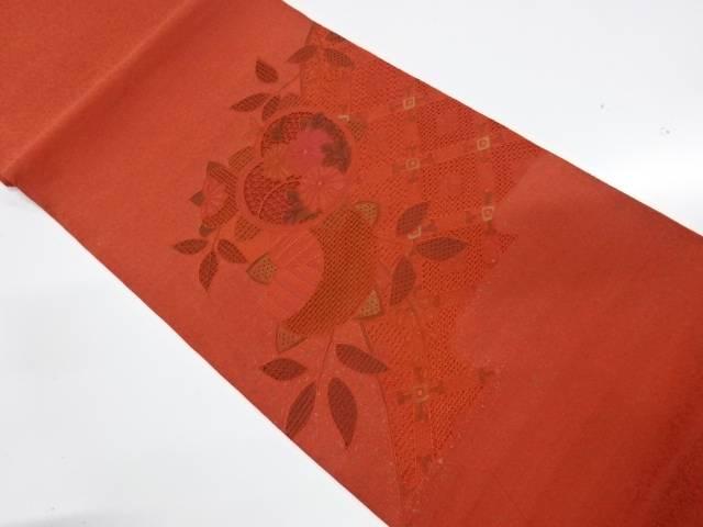 【IDnet】 未使用品 汕頭刺繍橘に草花模様袋帯【リサイクル】【着】
