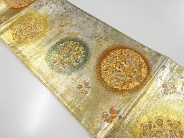 【IDnet】 金銀糸華紋に向かい鳥模様織出リバーシブル袋帯【リサイクル】【中古】【着】