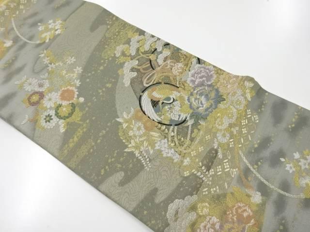 【IDnet】 金糸鼓に鶴牡丹模様織出袋帯【リサイクル】【中古】【着】