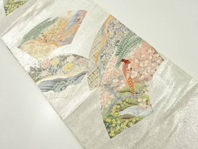 【IDnet】 金銀糸地紙に花鳥風景模様織り出し袋帯【リサイクル】【中古】【着】