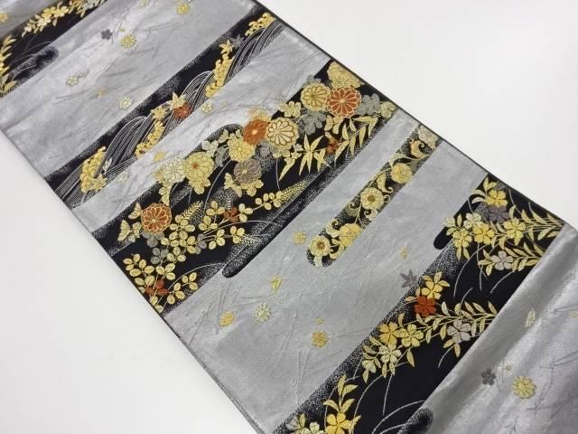 【IDnet】 霞に秋草・吹き寄せ模様織出し袋帯【リサイクル】【中古】【着】
