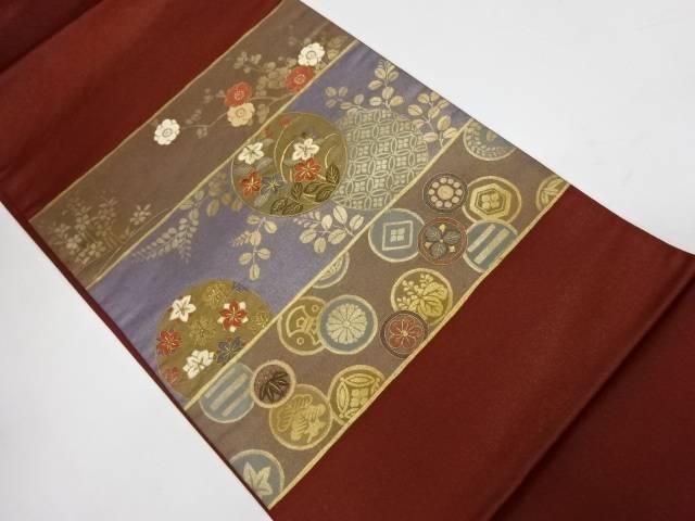 【IDnet】 金彩梅に草花模様刺繍袋帯【リサイクル】【中古】【着】