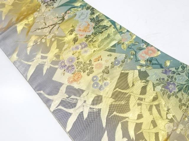 【IDnet】 色紙に草花・群鶴模様織出し袋帯【リサイクル】【中古】【着】
