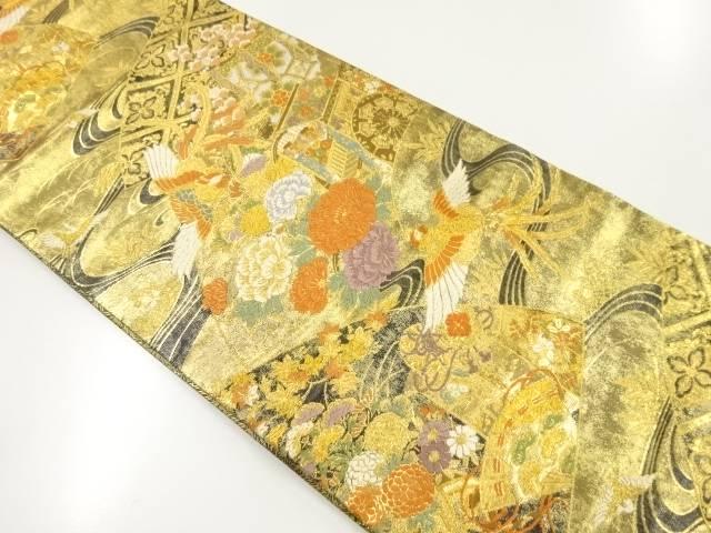 【IDnet】 本金箔鳳凰に花・御所車模様織り出し袋帯【リサイクル】【中古】【着】