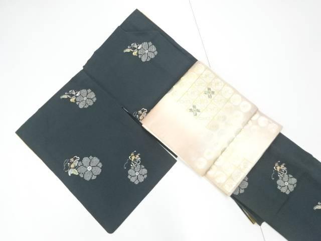 【IDnet】 疋田華紋に花模様小紋着物 螺鈿袋帯セット【リサイクル】【中古】【着】