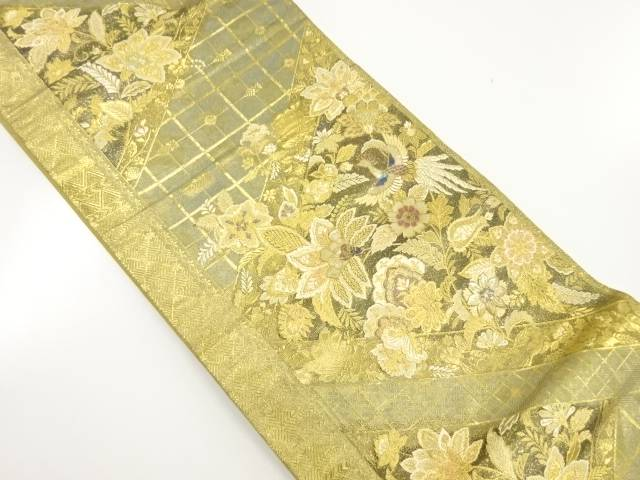 【IDnet】 本金螺鈿切りばめ風花鳥模様織り出し袋帯【リサイクル】【中古】【着】