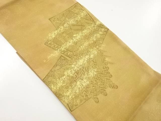 【IDnet】 未使用品 汕頭蘇州刺繍孔雀に色紙模様袋帯(未仕立て)【リサイクル】【着】