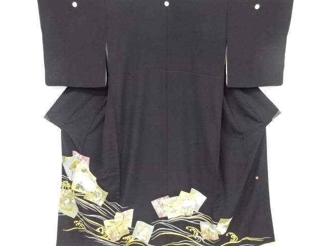 【IDnet】 作家物 金彩色紙に花鳥模様刺繍留袖(比翼付き)【リサイクル】【中古】【着】