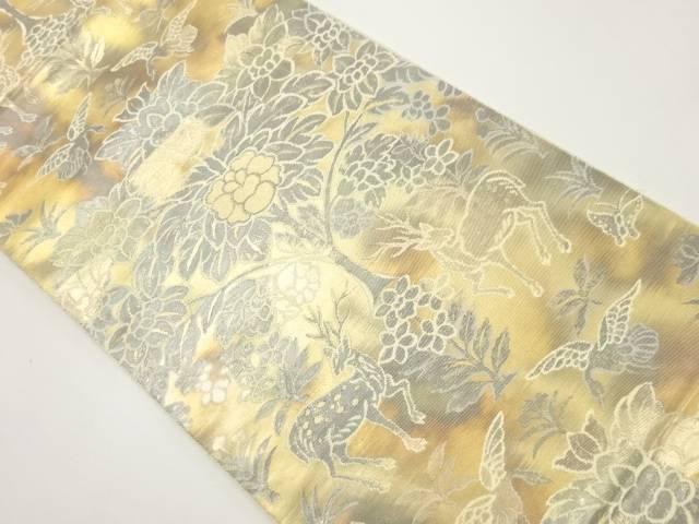 【IDnet】 服部織物製 こはく錦二重箔織 向かい動物更紗模様織り出し袋帯【リサイクル】【中古】【着】