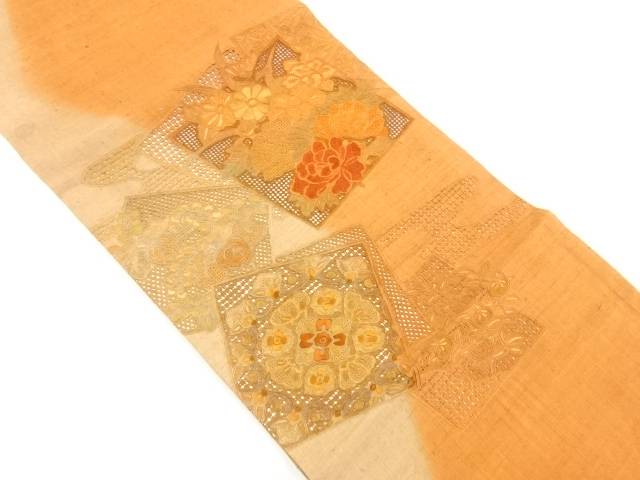 【IDnet】 手織り真綿紬汕頭蘇州刺繍色紙に花模様袋帯【リサイクル】【中古】【着】