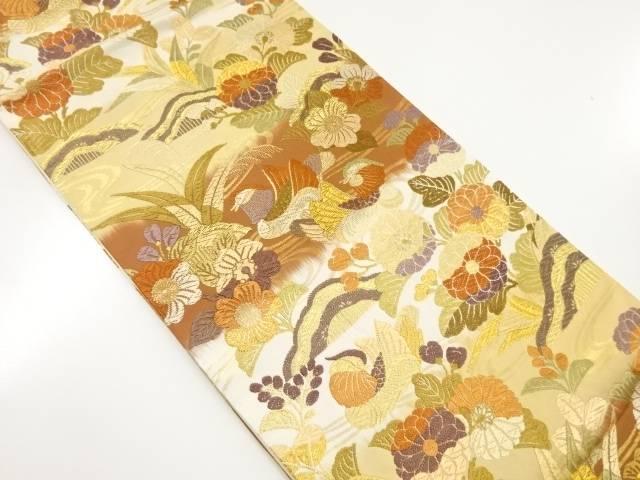 【IDnet】 唐織花に鴛鴦模様織り出し袋帯【リサイクル】【中古】【着】