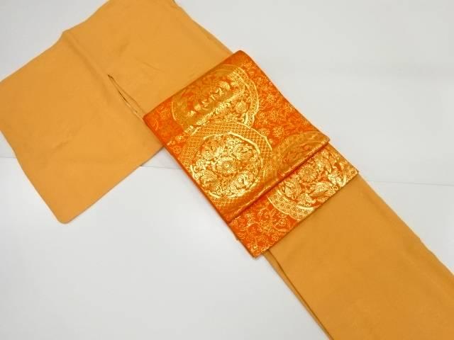 【IDnet】 鏡裏模様織り出し一つ紋色無地着物 本袋帯セット【リサイクル】【中古】【着】