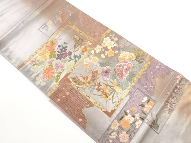 【IDnet】 蘇州刺繍四季草花に蝶模様袋帯【リサイクル】【中古】【着】