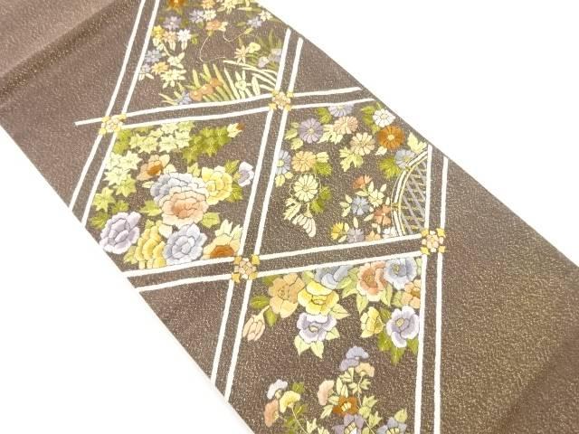 【IDnet】 斜め格子に草花模様刺繍袋帯【リサイクル】【中古】【着】