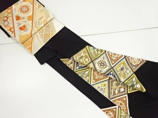 【IDnet】 金彩菱に尾長鳥華紋模様刺繍留袖・袋帯セット(比翼付き)【リサイクル】【中古】【着】