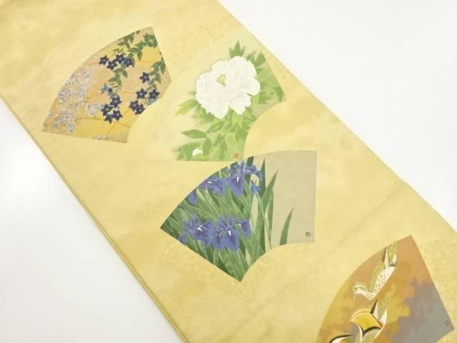 【IDnet】 作家物 扇面散らし花鳥絵屏風図織り出し袋帯【リサイクル】【中古】【着】