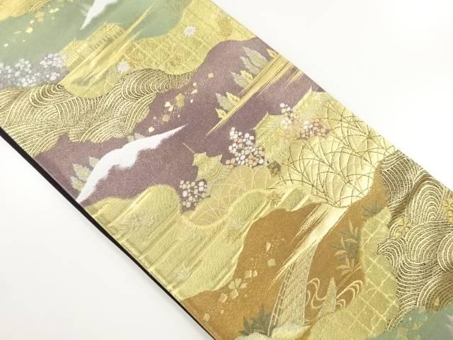 【IDnet】 本金洛西趣景紫峰水明織り出し袋帯【リサイクル】【中古】【着】