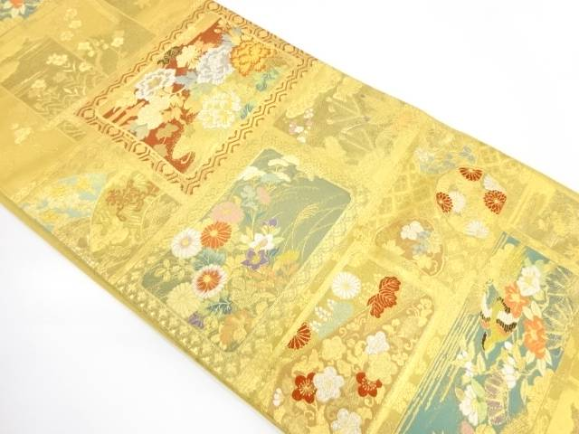【IDnet】 本金箔飾棚花文様織出し袋帯【リサイクル】【中古】【着】