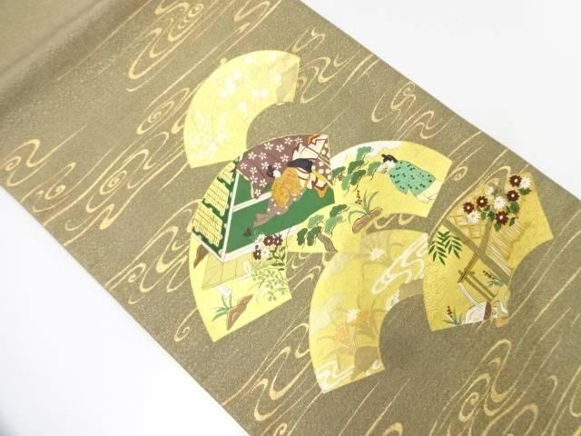 【IDnet】 未使用品 金彩手描き地紙に十二単模様袋帯【リサイクル】【着】