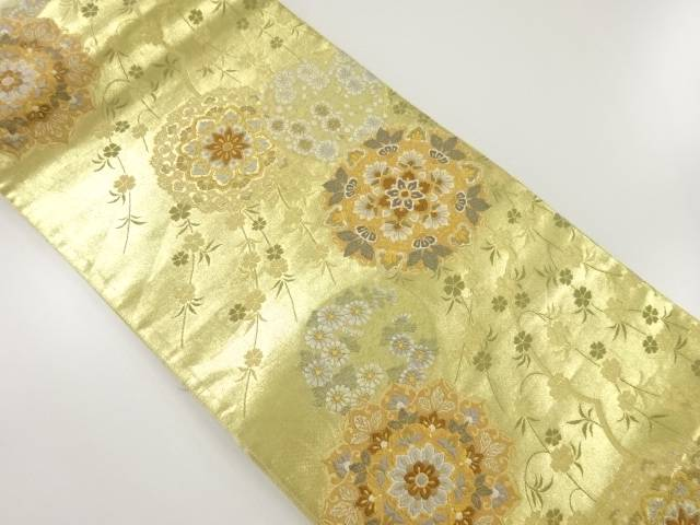 【IDnet】 本金華紋に枝垂れ桜模様織り出し袋帯【リサイクル】【中古】【着】