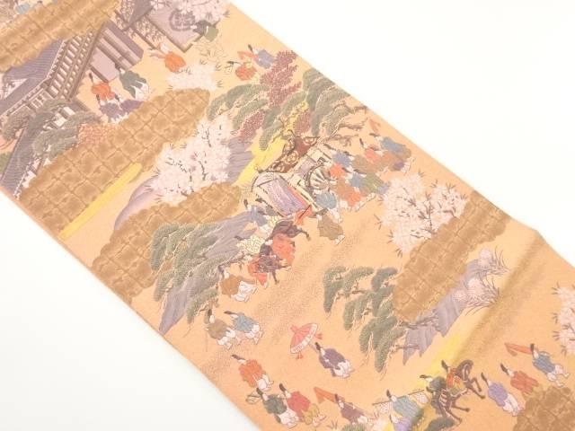 【IDnet】 時代人物風景模様織り出し袋帯【リサイクル】【中古】【着】
