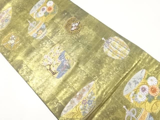 【IDnet】 長嶋成織物製 瀞金錦茶器の華織り出し袋帯【リサイクル】【中古】【着】