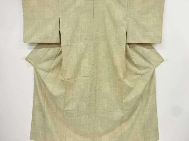 【IDnet】 幾何学に麻の葉模様織り出し本場結城紬100亀甲着物(石下)【リサイクル】【中古】【着】