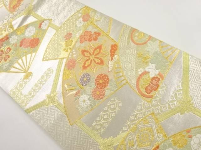 【IDnet】 金銀糸扇面に花模様織り出し袋帯【リサイクル】【中古】【着】